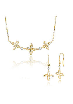 Gemondo 9ct Yellow Gold Pearl Ixora Flower Drop Earring & 45cm Necklace Set