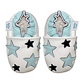 Dotty Fish Soft Leather Baby Shoe - White and Blue Stars - 6-12 mths