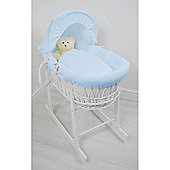 Cuddles Collection White Wicker Moses Basket (Waffle Blue)