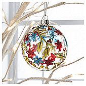 Glass Bauble Floral Design Hanging Decoration