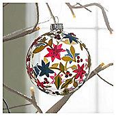 Gisela Graham Glass Bauble Floral Design Hanging Decoration