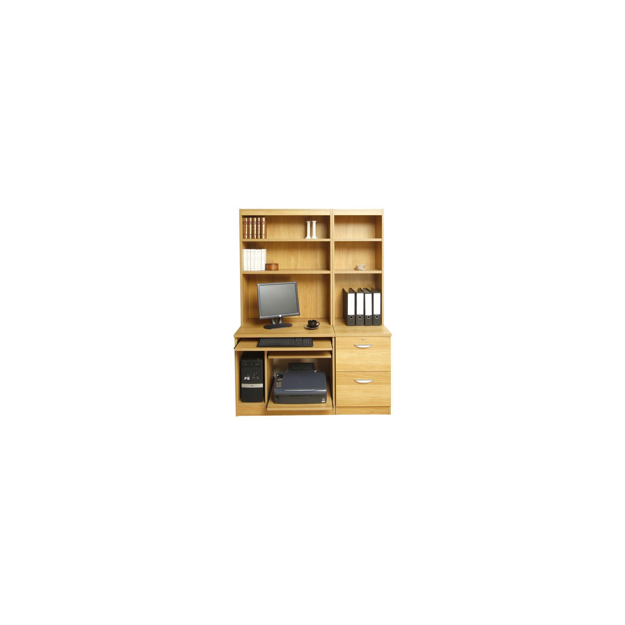 Enduro Home Office Desk / Workstation with Pedestal, Printer / CPU Storage and Inbuilt Bookshelves - Walnut at Tesco Direct