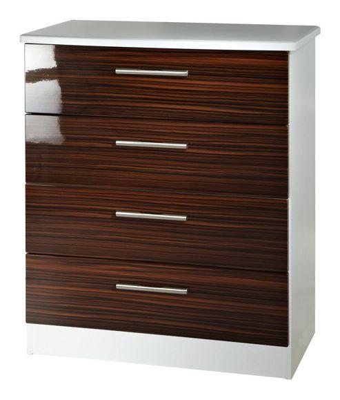 Welcome Furniture Knightsbridge 4 Drawer Chest - White - Ebony