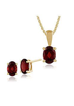 Gemondo 9ct Yellow Gold 4 Claw Set Garnet Oval Stud Earrings & 45cm Necklace Set