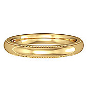 Jewelco London 18ct Yellow Gold - 3mm Premium Court-Shaped Mill Grain Edge Band Commitment / Wedding Ring -