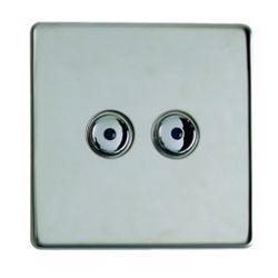 Remote Controlled 2 Gang Light Wall Switch Chrome