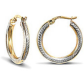 Jewelco London 9ct Yellow and White Gold Diamond Cut Hoop Earring