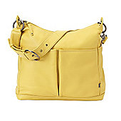 OiOi Leather 2 Pocket Hobo Changing Bag (Lemon Curry)