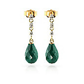 QP Jewellers Diamond & Emerald Chain Droplet Stud Earrings in 14K Gold