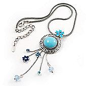 Aqua Blue Floral Drop Pendant