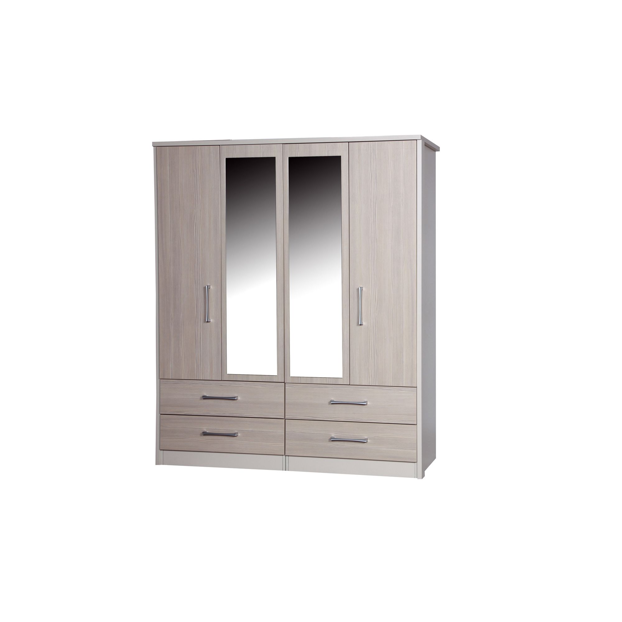 Alto Furniture Avola 4 Door Combi Wardrobe with 2 Mirrors - Cream Carcass With Champagne Avola at Tescos Direct