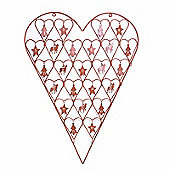 Large Metal Heart Advent Calendar with Numbered Hooks in Rusty Brown Finish