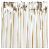 "Tesco Plain Canvas Pencil Pleat Curtains W167xL137cm (46x90""), Ivory"