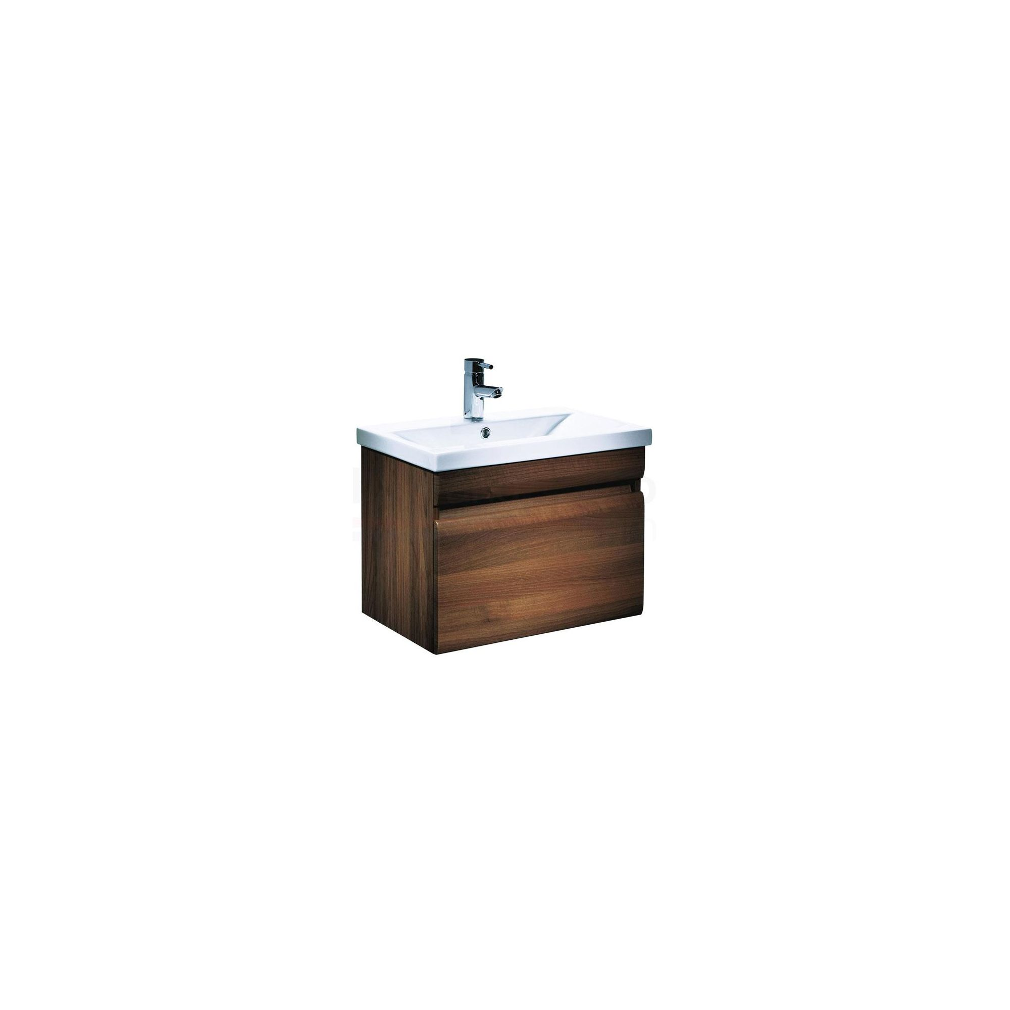 Tavistock Groove Walnut Wall Mounted Cabinet and Basin - 1 Tap Hole - 600mm Wide