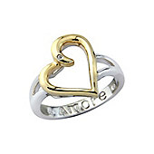 """Sterling Silver and Yellow Rhodium Overlay Cubic Zirconia Ring Hidden Message - """"Amore"""""""