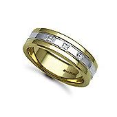 Jewelco London 18ct Yellow & White Gold 7mm Flat Court Diamond set 15pts Trilogy Wedding / Commitment Ring