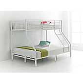 Happy Beds Cherry 3ft 4ft6 Kids White Metal Bunk Bed Triple Sleeper 2x Spring Mattresses
