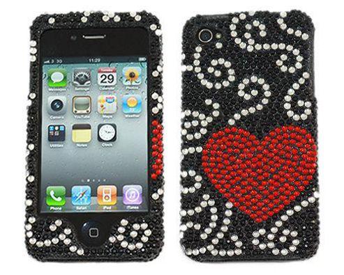 iTALKonline 17829 Premuim FunkGem (Red Black) Love Heart 2 Part Case & Screen Protector - Apple iPhone 4