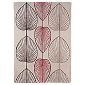 Tesco Linear Leaf Rug Soft Red/Chocolateolate120X170Cm