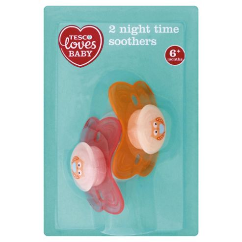 TESCO LOVES BABY NIGHT TIME SOOTHERS GIRL 6-18 mths x2