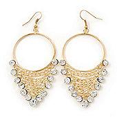 Clear Crystal Chain Hoop Earrings In Gold Plated Metal - 8cm Length