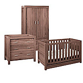 Tutti Bambini Milan 3 Piece Room Set (Cot, Chest, Wardrobe) - Walnut