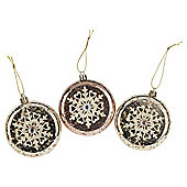 Gold Floral Discs Christmas Tree Decorations, 3 pack