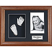 3D Baby Casting Kit - Dark Wood Frame - Silver Paint