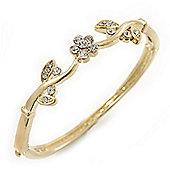 Delicate Gold Plated Crystal Floral Bangle Bracelet - 19cm Length
