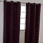 "Homescapes Cotton Rajput Ribbed Purple Curtain Pair, 66 x 54"" Drop"
