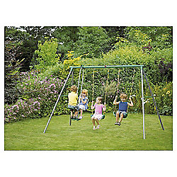Plum Jupiter Double Swing Set with Glider