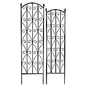 Bentley Garden Wrought Iron Black Flower Trellis - Set of 2