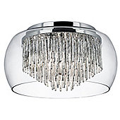 Decorative Crystal and Glass Flush Chrome Ceiling Fitting