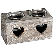 Heart - Limed Wood / Driftwood Effect Candle / Tea Light Holder