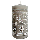 Reindeer Design Pillar Candle Grey And White