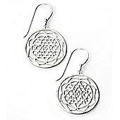 Sterling Silver Patterned Disc Earrings