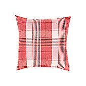 Linea Wool Check Cushion, Red