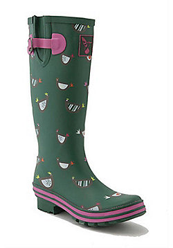 Evercreatures Ladies Evergreen Wellies Chicken Print Pattern 7