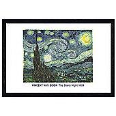 Vincent Van Gogh Black Wooden Framed Starry Night, 1889 Poster