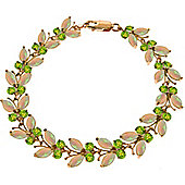 QP Jewellers 7in Peridot & Opal Butterfly Bracelet in 14K Rose Gold