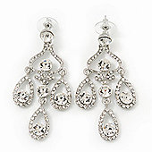 Bridal Clear Swarovski Crystal Chandelier Earrings In Rhodium Plating - 6cm Length