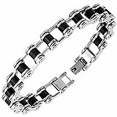 Urban Male Two Tone Stainless Steel & Rubber Bike Chain Style Bracelet