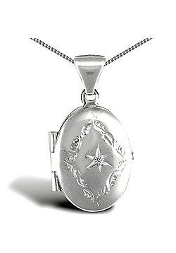 Jewelco London Sterling Silver Oval shape set Locket Pendant - 18 inch Chain