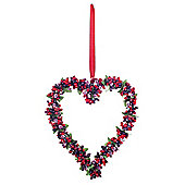 Medium Artificial Frosted Red Berry Hanging Heart Decoration