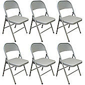 Pack of 6 Chairs - Grey Metal Folding Office, Computer, Desk Chairs
