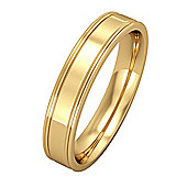 Jewelco London 18ct Yellow Gold - 4mm Essential Flat-Court Track Edge Band Commitment / Wedding Ring -