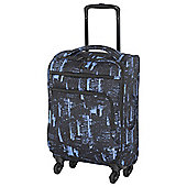 IT Small Megalite Soft Cabin Suitcase, Black/Blue