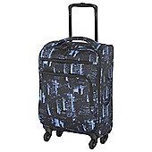 IT Luggage Megalite 4-Wheel Suitcase, Black/Blue Small