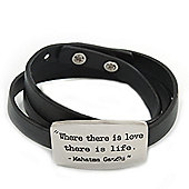 Black Leather Gandhi Quote Wrap Bracelet (Silver Tone) - Adjustable - One size fits all
