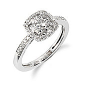 Gemondo 18ct White Gold 0.33ct Diamond Halo Cluster Ring